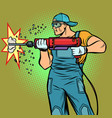 working hammer drills wall vector image vector image