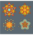Abstract yellow flowers ornament design set vector image