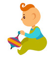 baboy in overalls plays with bright whirligig vector image vector image