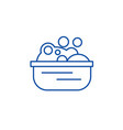 basin with soap foam line icon concept basin with vector image