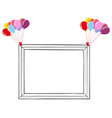 black and white photo frame with colorful balloons vector image