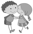 Boy and girl hugging and kissing vector image