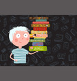 boy holding pile of books cartoon vector image vector image
