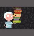boy holding pile of books cartoon vector image