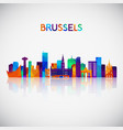 brussels skyline silhouette vector image