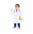 cartoon doctor character with lab coat stethoscope vector image