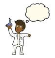cartoon happy scientist with thought bubble vector image vector image