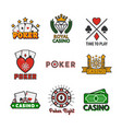 casino poker icons templates of chips and vector image vector image