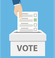 checklist in man hand in vote box on blue stock vector image vector image