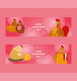 chicken and rooster with chicks set of banners vector image vector image