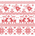 Christams nordic cross stitch pattern vector image vector image