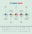 colorful buttons timeline with set of icons vector image