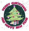 Colorful Christmas poster with cute cartoon tree vector image