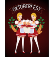 colorful of two german girls waitress in tra vector image