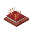 construction structure of walls isometric 3d icon vector image vector image