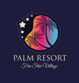creative palm resort logodesign for tropical vector image