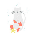 cute cat with swimming ring and sea star vector image vector image