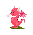 cute pink dragon with steam from the nose vector image vector image