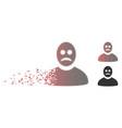 damaged pixel halftone sad person icon vector image vector image