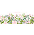 delicate border blush pink flowers forest vector image