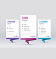 design of white templates of price tables vector image vector image