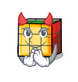 Devil rubik cube mascot cartoon