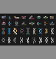 dna icons medical genetic lab science labels and vector image