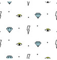 doodle hipster lightning eye and diamond seamless vector image