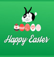 easter card with rabbits and eggs vector image vector image