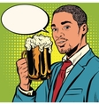 Elegant black man with a beer vector image vector image