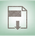 file download sign brown flax icon on vector image vector image