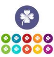 four leaf clover icons set color vector image