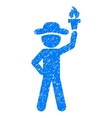 Gentleman With Freedom Torch Grainy Texture Icon vector image vector image
