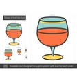 Glass of brandy line icon vector image vector image