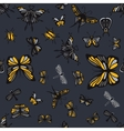 Grey and yellow insects seamless pattern vector image vector image