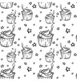 hand drawn bithday cupcake seamless outline vector image