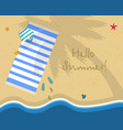 hello summer square banner sunny beach top view vector image vector image