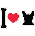 I love french bulldog with black shape dog vector image