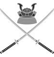 japanese helmet and swords vector image vector image