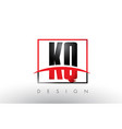 kq k q logo letters with red and black colors and vector image vector image
