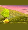 landscape with hills green meadow plants and vector image vector image