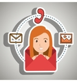 man cartoon email telephone vector image vector image