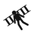 Man laying on railroad tracks icon vector image vector image
