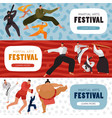 martial arts festival horizontal banners vector image