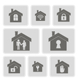 monochrome icons with symbols of home vector image vector image
