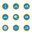 motorshow icons set flat style vector image