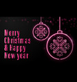 neon sign christmas balls and calligraphy vector image