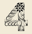 number 4 floral decorative ornament vector image vector image