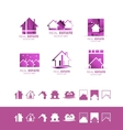 Real estate pink set logo icon purple vector image vector image