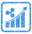 ripple trend up framed stamp vector image vector image